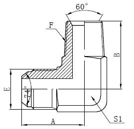 BSPT vyrų adapterio jungtys brėžinys