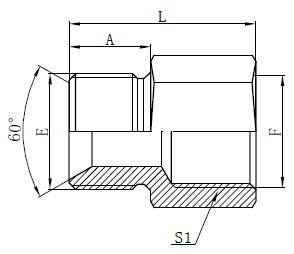 Britų standartinių žarnų adapterių brėžinys