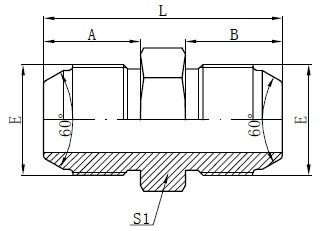 JIS metrinių vyrų adapterių brėžinys